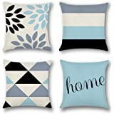 Artscope Taie d'oreiller Décorative, Lot de 4 Polyester et Lin Housses de Coussin pour Voiture Canapé Maison Décor, 45 x 45cm
