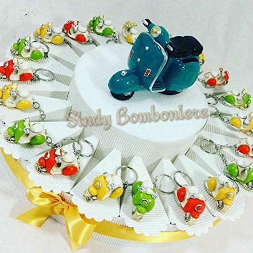 Torta bomboniere nascita, battesimo, comunione, cresima, compleanno vespa scooter moto portachiavi (torta da 20 fette)