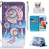Samsung Galaxy S5 Hülle,Samsung S5 Neo Case - Felfy Flip Bookstyle Wallet Luxe Handyhülle Niedlich Farbe Muster mit Bling Diamant Strass Design PU Leather Stand Wallet Flip Lederhülle Case Cover Pouch Shell Soft mit TPU Inner Shell Multi Function mit Stand Magnetic Slots Lederhülle Bumper Case Cover für Samsung Galaxy S5 G900 / S5 Neo SM-G903F) (Bling Campanula Feder) + 1x Silver Stylus Pen + 1x Eule Bling Dust Plug