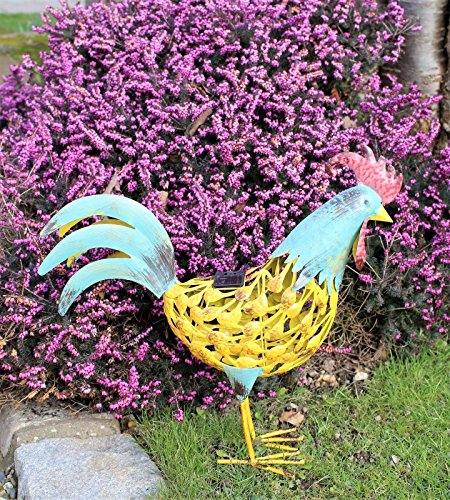 Works with solar energy - Metal figure chicken rooster hen lighting garden ornament