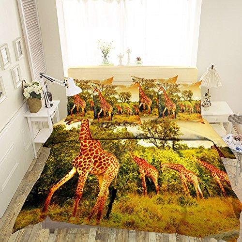 Preisvergleich Produktbild 3D Giraffe Tier 299 Betten Kopfkissen,  Steppdecke Bettbezug Set Einzel Queen King / 3D-Foto Bettwäsche,  AJ Tapete UK Sieben