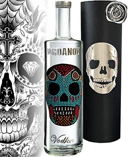 100% Vodka | Geschenk-Set Mexican Skull |Luxus-Wodka Iordanov in der Geschenkbox Chrome | für Mann und Frau Geburtstag |mit Geschenkkarte