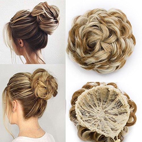 TESS Haargummi Haarteil Dutt mit Haaren Ombre Dunkelblond/Blond Gewellt Haarknoten Hochsteckfrisuren günstig für Damen 55g