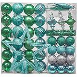 Valery Madelyn 60 TLG 4-20cm Plastik Weihnachtskugeln Grün Blau Silber Der Nordstern Thema Christbaumkugeln Set mit Weihnachtsbaumspitze Lametta Girlanden und Aufhänger Weihnachtsdekoration