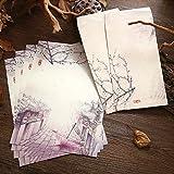 Skyeye 1set/4 Briefpapier+2 Weihnachtsgrußkarte Feiertagswünsche Grußkarte Gedenkkarte chinesischen alten Stil Vintage Papier Briefpapier Farbe D