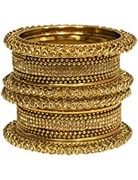 Mansiyaorange Traditional Fancy Designer Party Wedding Wear Original Hand Work Antique Golden Bangles For Women