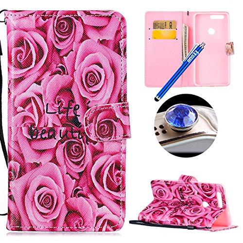 Etsue Huawei Honor 8 Cuatodia in Pelle Protafoglio con Cinghia,Huawei Honor 8 Cover Pu Flip (Raffreddamento Strap)