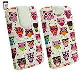 Emartbuy Multi Coloured Owls Print Premium PU Leather Slide in Pouch Case Cover Sleeve Cover Holder ( Size 5XL ) With Pull Tab Mechanism Suitable For Bocoin 6 Inch Android Smartphone