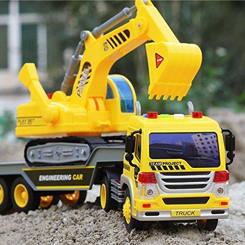 Kinder-Traktor mit Spielzeug-Anhänger, Bagger, Kipper-LKW mit Ton und Licht