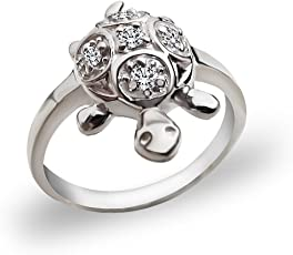 MJ 925 Good Luck Tortoise/Turtle Finger Ring Embellished with CZs in Pure 92.5 Sterling Silver