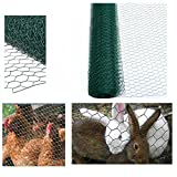 garden mile® Chicken Wire Mesh Rabbit Animal Fence Green PVC Coated Or Galvanised Steel Metal Garden Wire Mesh Netting Boundary Fencing Various