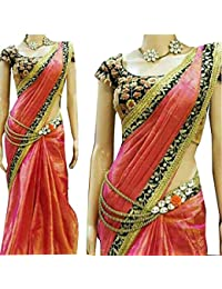 Bigben Women's Embroidery Paper Silk Designer Saree Sari With Blouses