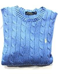 Ralph Lauren Polo Coton Roving Cable Knit Jumper Homme à manches longues Shelter Bleu BNWT