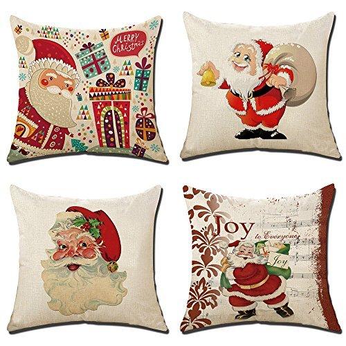 SUN-Shine 4Packungen Merry Christmas Kissenbezüge Set 45,7x 45,7cm Rentier Santa Claus Weihnachten Bäume Deers Dekoration Überwurf Kissen Abdeckungen
