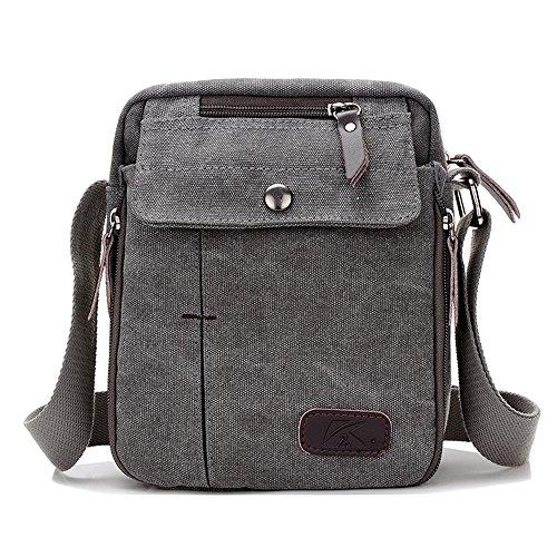 BYD - Uomo Unisex Female Mini Borse a spalla Crossbody Canvas Bag Borse a spalla Mutil Pockets Design Grigio