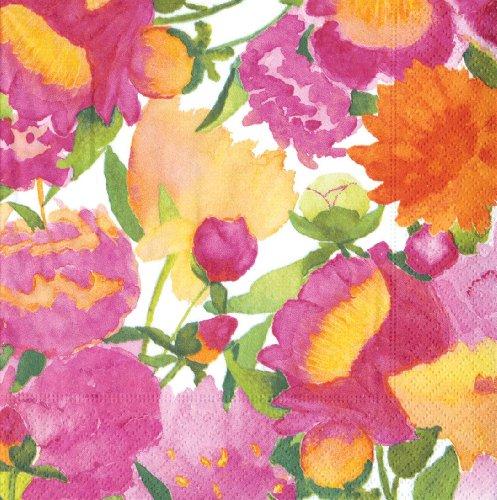 Caspari - Confezione da 20 tovaglioli di carta con motivo peonie, colori misti