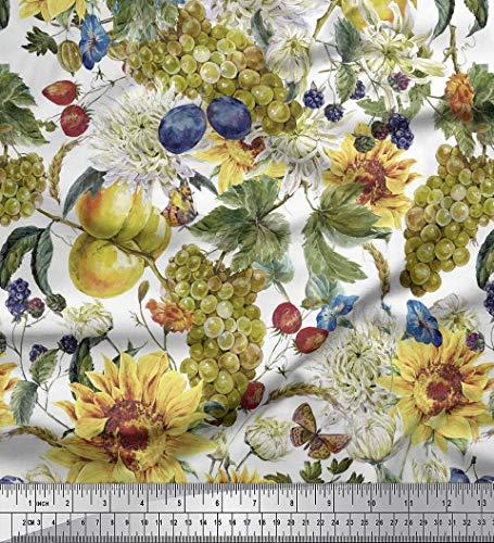 Soimoi Gelb Rayon Krepp Stoff Trauben, Chrysantheme und Sonnenblumen Blume Stoff Meterware 46 Zoll breit -
