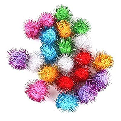 Tinsel Pompoms Balls Cat Toy 3.5cm Multicolor Pack of 21