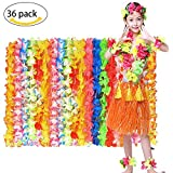 MMTX Hawaiian Luau Collar de Flores Leis 36 Cuenta Tropical Hawaiian Luau Flower Leis Party Favors Vestido de Disfraces Summer Beach Party Diseño de Moda para niños y Adultos.