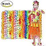 MMTX Hawaiian Luau Blumen Halskette Leis 36 Grafen Tropical Hawaiian Luau Blume Leis Party Favors Kostüm Kleid Sommer Beach Party Modische Design für Kinder und Erwachsene.