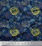 Soimoi Azul terciopelo Tela la coliflor y el brócoli vegetal estampada de tela por metro 58 Pulgadas de ancho