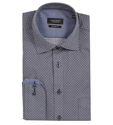 Michaelax-Fashion-Trade -  Camicia classiche  - Azteco - Classico  - Maniche lunghe  - Uomo Druck Marine (178)