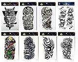 Grashine Tattoo 8pcs Arm lange letzte und realistische Temp Tattoo Aufkleber in 1 Pakete, einschließlich Arm Tattoo, Eule, Schädel, Totem für Männer und Frauen