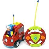 Brigamo - Auto dei vigili del fuoco radiocomandata con sirena e personaggio dei pompieri