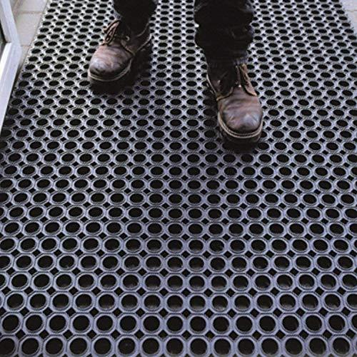 Olivo Tappeti rutschfeste Gummimatten aus Gummi für den Außenbereich, rutschfest, schmutzabweisend, Drainageauge, 16 mm dick 80x120cm Latex Nero