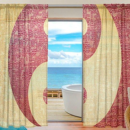 2PC jstel Yin Yang chinesische Muster Print Tüll Polyester Tür Voile Fenster Vorhang Sheer Vorhang Panels für Schlafzimmer Wohnzimmer Fall Zwei scheibenelementen Set 139,7x 198,1cm (Chinesische Tür-vorhang)
