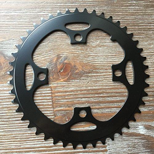 Unbekannt Kettenblatt 38/42/44/46 Zähne 4-Arm MTB Chainring 104 mm Lochkreis Stahl Schwarz (46 Zähne)