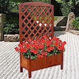 Melko Rankgitter Rankkasten mit Blumenkasten aus Holz, ideale Rankhilfe für Kletterpflanzen, Pflanzkasten mit Spalier, braun