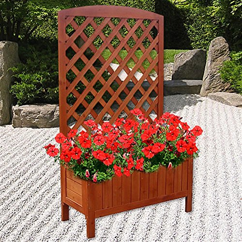 Melko® Rankkasten Blumenständer Rankhilfe, 72 x 30 x 120 cm, aus Holz, braun, inklusive 1 Blumenkübel / Blumenkasten (Garten Pflanzen Zaun)