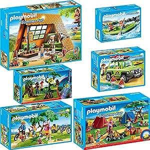 PLAYMOBIL® Summer Fun 6er Set 6887 6888 6889 6890 6891 6892 Großes Feriencamp + Zeltlager + Geländewagen + Mountainbike-Tour + Nachtwanderung + Wildwasser-Rafting