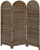 korb.outlet Paravent aus Natur-Rattan, 3-teiliger Raumteiler/Spanische Wand aus ungeschältem, grauem Rattan
