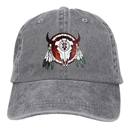Zhgrong Caps Native American Buffalo Skull Arrowhead Indian Vintage Washed Dyed Cotton Twill Low Profile Adjustable Baseball Cap Black Flexfit Cap