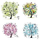 Labellevie Kreuzstich Stickerei DIY Handarbeit Stickpackung Set vom Baum des Lebens 45 * 45cm: Vier jahreszeiten