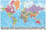 Grupo Erik Editores Poster Mapa Mundo Fisico Politico (Editado en Portugués)