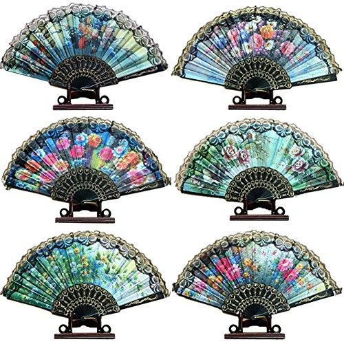 Pattern Pailletten Stoff Hand Faecher Faltfaecher Dekoratives Design (Zufällige Farben) (20 Stück) (Tango Tanz Kostüme Männer)