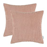 CaliTime Pack of 2 Comfy Throw Pillow Covers Cases Couch Sofa Bed Comfortable Supersoft Corduroy Corn Striped Both Sides 18 X 18 Inches Pink DSC0279I-Double
