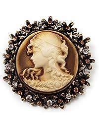 baba1b21df3f Broche colgante camafeo cristal redondo Vintage en Metal dorado antiguo