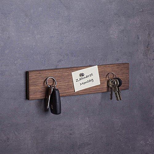 Schlüsselbrett magnetisch Holz - viele Varianten (in Bayern handgefertigt) 30cm Nuss-Schlüsselhalter mit Magnet / moderne Schlüsselleiste als Board Schlüssel-Aufhänger / Nussholz (Holz-schlüsselbrett)
