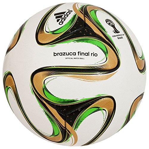 Brazuca Finale Rio Officiel - Ballon de Match de Foot Blanc/Noir/Or Métallisé - taille 5