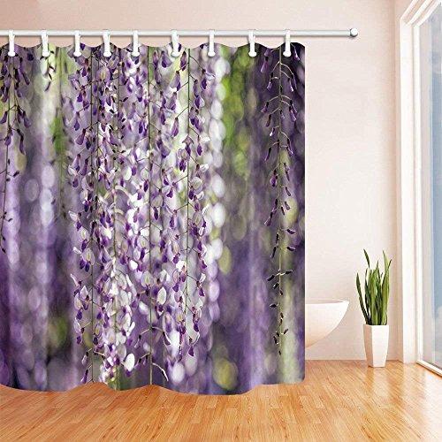 CDHBH Spring Flower Vorhänge Dusche für Badezimmer Wisteria Polyester-Blume Vine-Wasserdicht Bad Vorhang Vorhang für die Dusche Haken Enthalten 180,3x 180,3cm Vines Design Snap