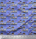 Soimoi Blu Chiffon di Viscosa Tessuto Slitta, Pane e Hot Dog Cibo Tessuto Stampato da Cucito dal Metro 42 Pollici Larghi