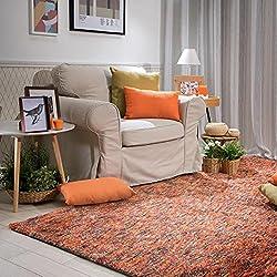 Alfombra Salón Kilian Naranja - De Pelo Largo - 60 x 120 Cm
