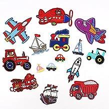 15 parches termoadhesivos ideales MIX bordados tractor avion camion super guays cazadoras, pantalones, zapatillas, ropa, estuches, gorros, abrigos, mochila scrapbooking, costura.. de OPEN BUY