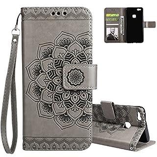 Aeeque Huawei P10 Lite Leder Hülle,Staubdicht Klapphülle Cover Case,Elegant Mandala Muster Schutzhülle,Magnetverschluss Kartenfach Ständer Handytasche mit Weich Silikon Innere Schale, Grau