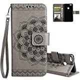 Huawei P10 Lite Case, Aeeque Simple Grey Mandala Flowers Drawing and Premium PU Leather Flip Stand Function with ID Cards / Cash Slots Wallet Cover for Huawei P10 Lite 5.2 inch