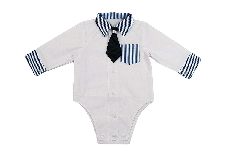Camisa bebé niño niños Bautizo Body Camisa Boda Traje Body, 2piezas, de color blanco azul KB2 1